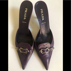 Prada purple leather, pointed toe kitten heels